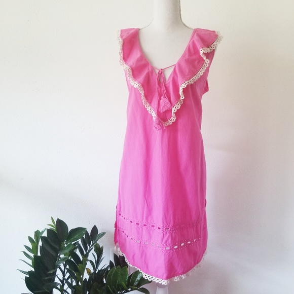 0c0e36ab99 Mud Pie Hot Pink Tunic Eyelet Summer Dress. M_5cac1ea179df27e1c608a5c3